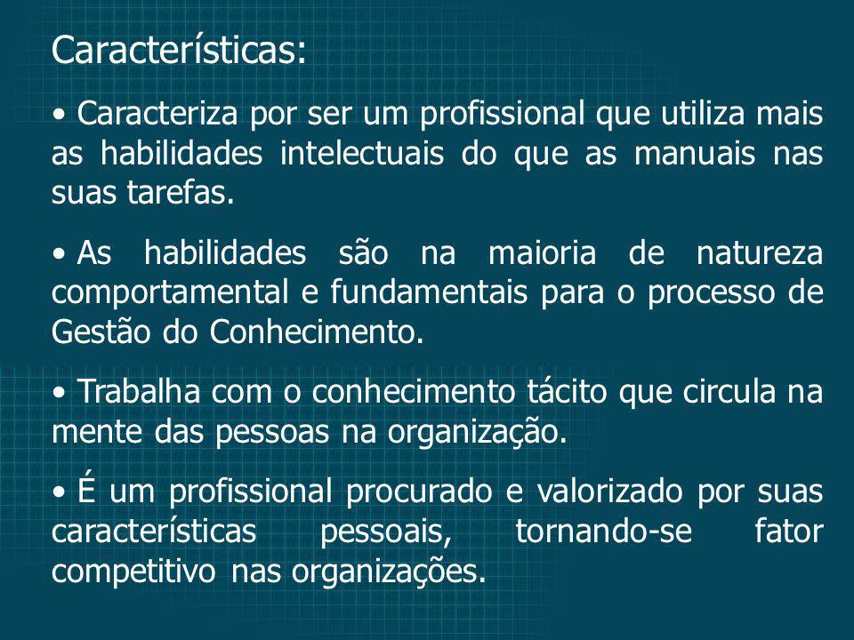 Características: Caracteriza por ser um profissional que utiliza mais as habilidades intelectuais do que as manuais nas suas tarefas.