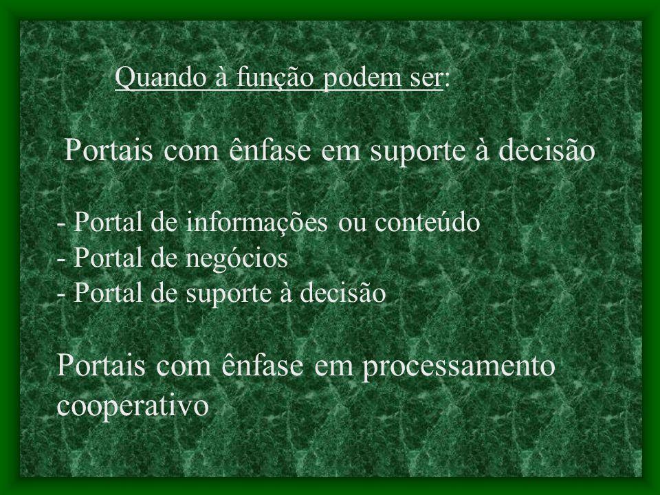 Quando à função podem ser: Portais com ênfase em suporte à decisão - Portal de informações ou conteúdo - Portal de negócios - Portal de suporte à decisão Portais com ênfase em processamento cooperativo