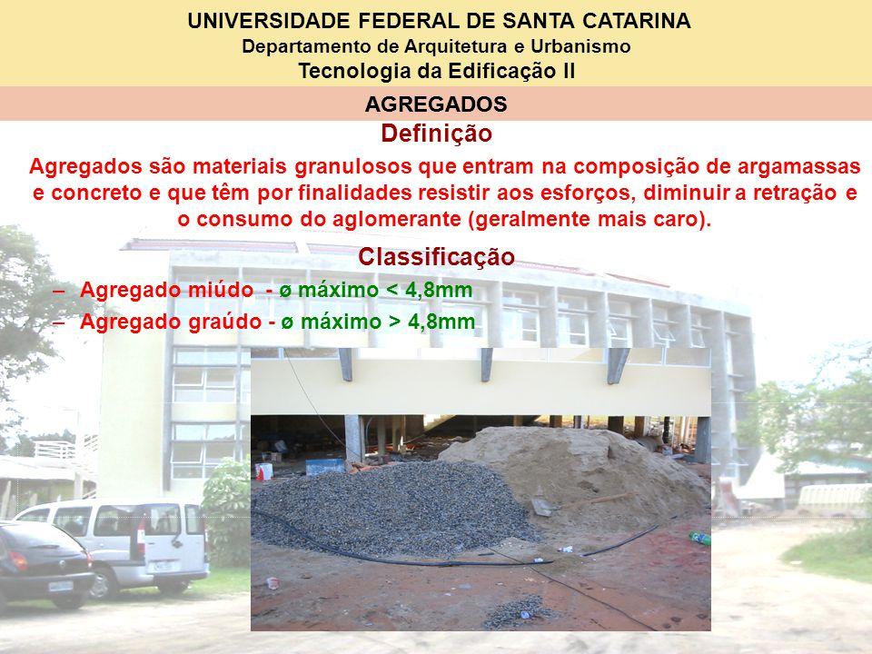 UNIVERSIDADE FEDERAL DE SANTA CATARINA Departamento de Arquitetura e Urbanismo Tecnologia da Edificação II AGREGADOS Definição Agregados são materiais