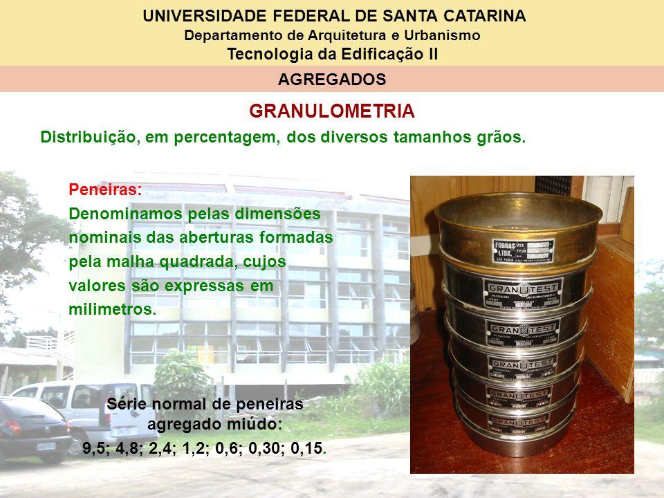 UNIVERSIDADE FEDERAL DE SANTA CATARINA Departamento de Arquitetura e Urbanismo Tecnologia da Edificação II AGREGADOS GRANULOMETRIA Série normal de pen