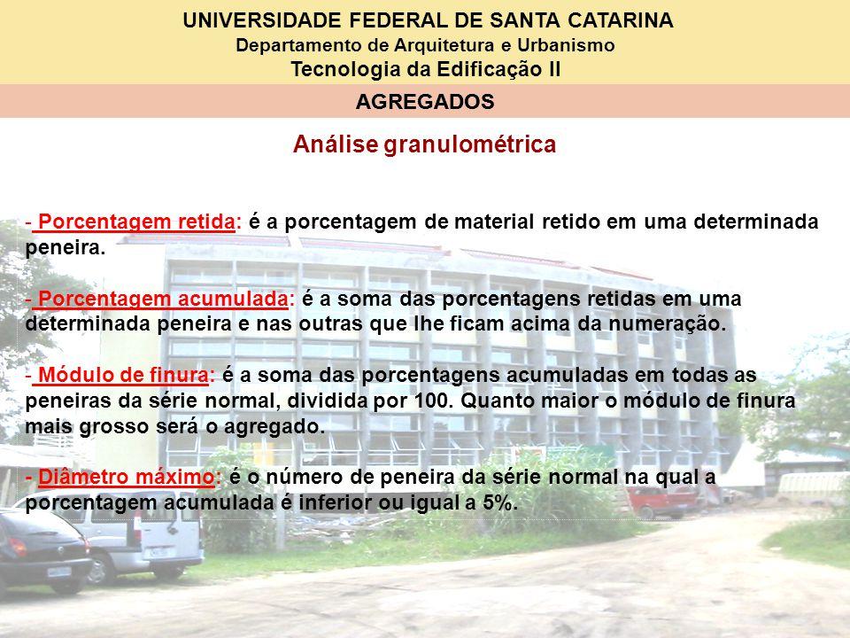 UNIVERSIDADE FEDERAL DE SANTA CATARINA Departamento de Arquitetura e Urbanismo Tecnologia da Edificação II AGREGADOS Análise granulométrica - Porcenta