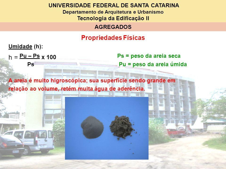 UNIVERSIDADE FEDERAL DE SANTA CATARINA Departamento de Arquitetura e Urbanismo Tecnologia da Edificação II AGREGADOS Propriedades Físicas Umidade (h):