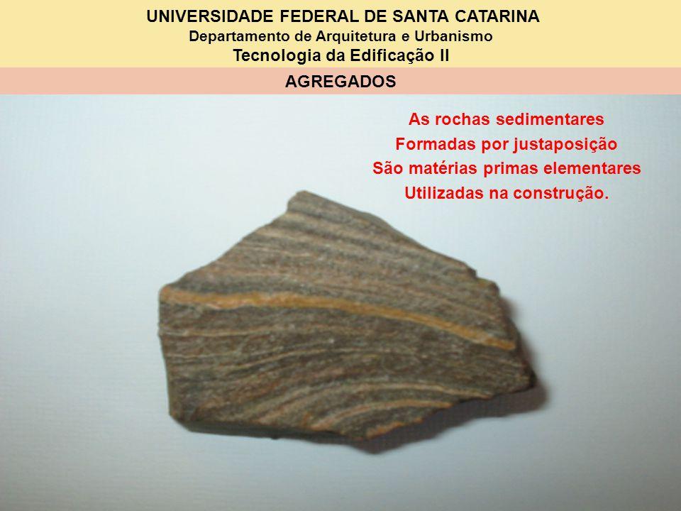UNIVERSIDADE FEDERAL DE SANTA CATARINA Departamento de Arquitetura e Urbanismo Tecnologia da Edificação II AGREGADOS As rochas sedimentares Formadas p