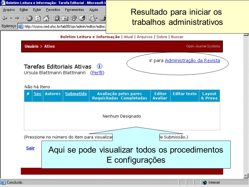 Resultado para iniciar os trabalhos administrativos Aqui se pode visualizar todos os procedimentos E configurações