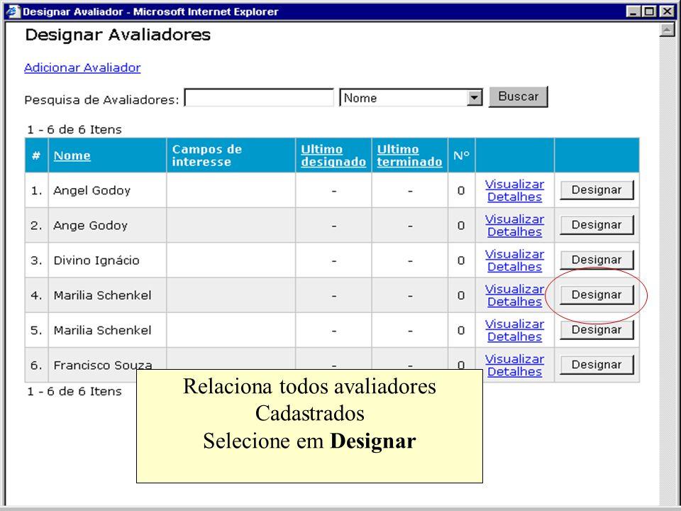 Relaciona todos avaliadores Cadastrados Selecione em Designar
