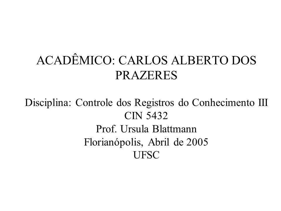 ACADÊMICO: CARLOS ALBERTO DOS PRAZERES Disciplina: Controle dos Registros do Conhecimento III CIN 5432 Prof.
