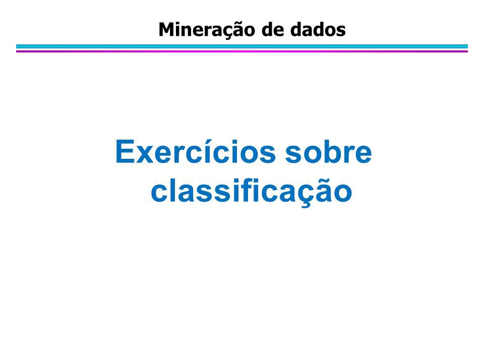 Exercícios sobre classificação Mineração de dados