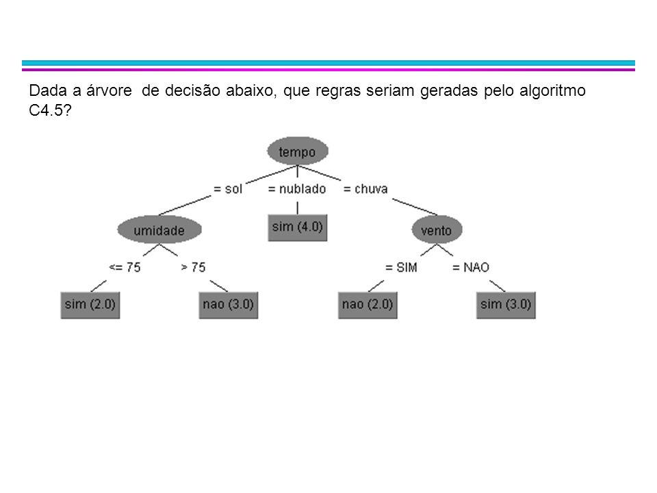 Considerando os dados de treino abaixo e o algoritmo C4.5, quais seriam os intervalos de decisão considerados para o atributo Peso.