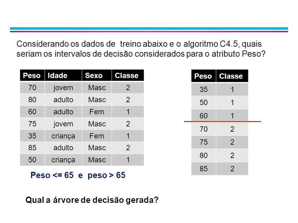 Considerando os dados de treino abaixo e o algoritmo C4.5, quais seriam os intervalos de decisão considerados para o atributo Peso? PesoIdadeSexoClass