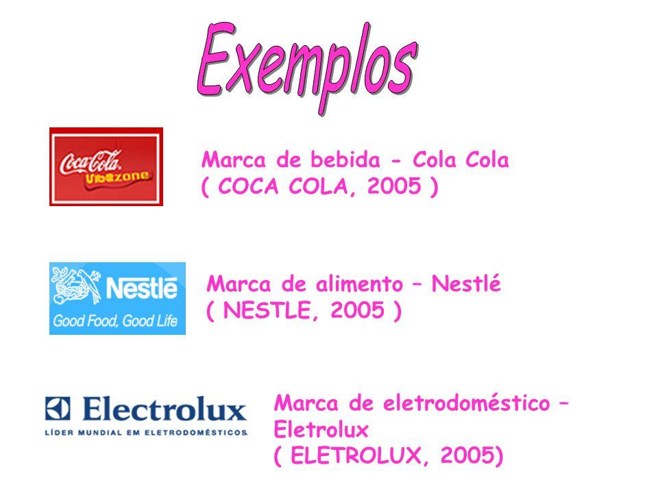 Marca de bebida - Cola Cola ( COCA COLA, 2005 ) Marca de alimento – Nestlé ( NESTLE, 2005 ) Marca de eletrodoméstico – Eletrolux ( ELETROLUX, 2005)