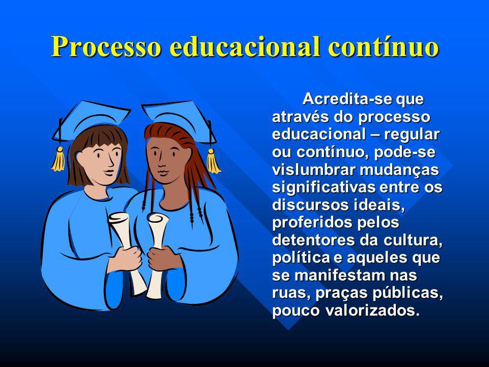 Processo educacional contínuo Acredita-se que através do processo educacional – regular ou contínuo, pode-se vislumbrar mudanças significativas entre