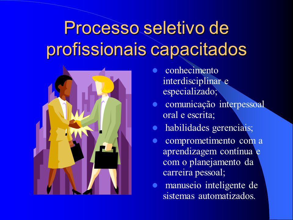 Processo seletivo de profissionais capacitados conhecimento interdisciplinar e especializado; comunicação interpessoal oral e escrita; habilidades ger