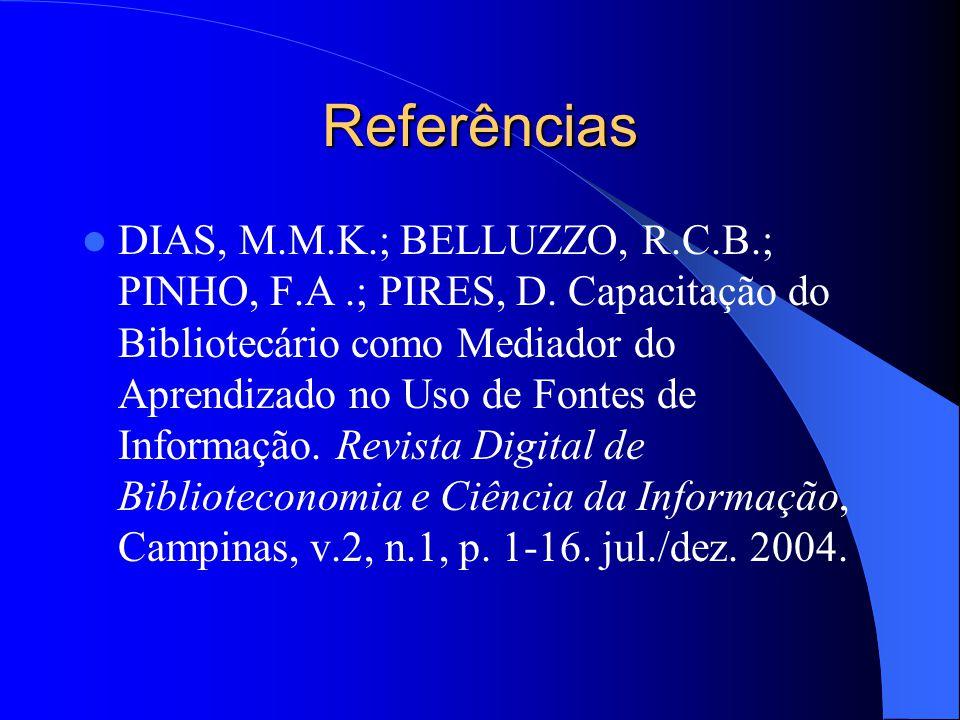 Referências DIAS, M.M.K.; BELLUZZO, R.C.B.; PINHO, F.A.; PIRES, D. Capacitação do Bibliotecário como Mediador do Aprendizado no Uso de Fontes de Infor