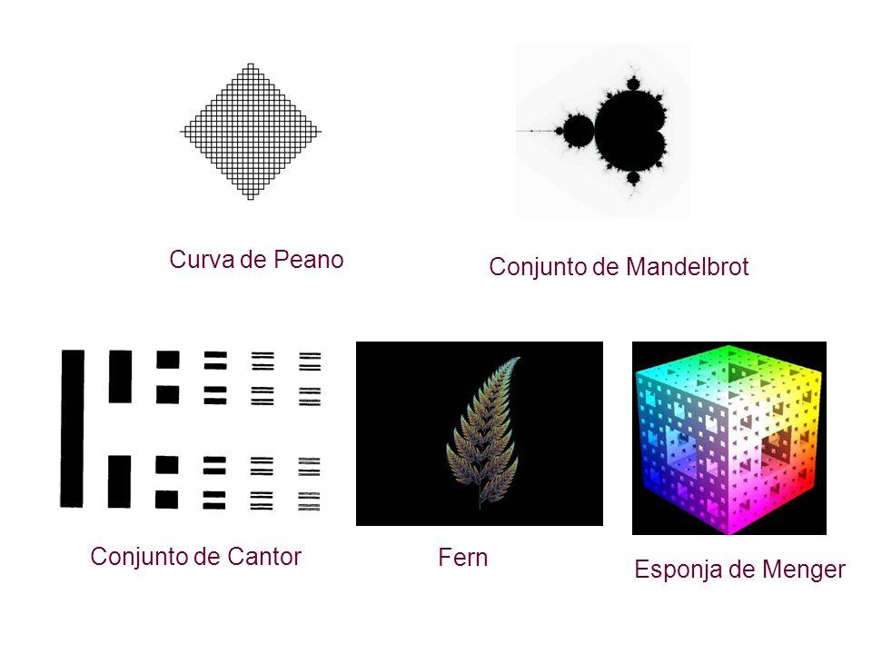 Conjunto de Mandelbrot Curva de Peano Conjunto de Cantor Esponja de Menger Fern