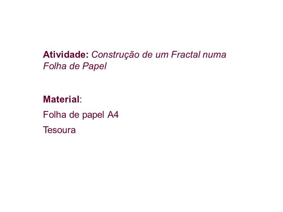 Atividade: Construção de um Fractal numa Folha de Papel Material: Folha de papel A4 Tesoura