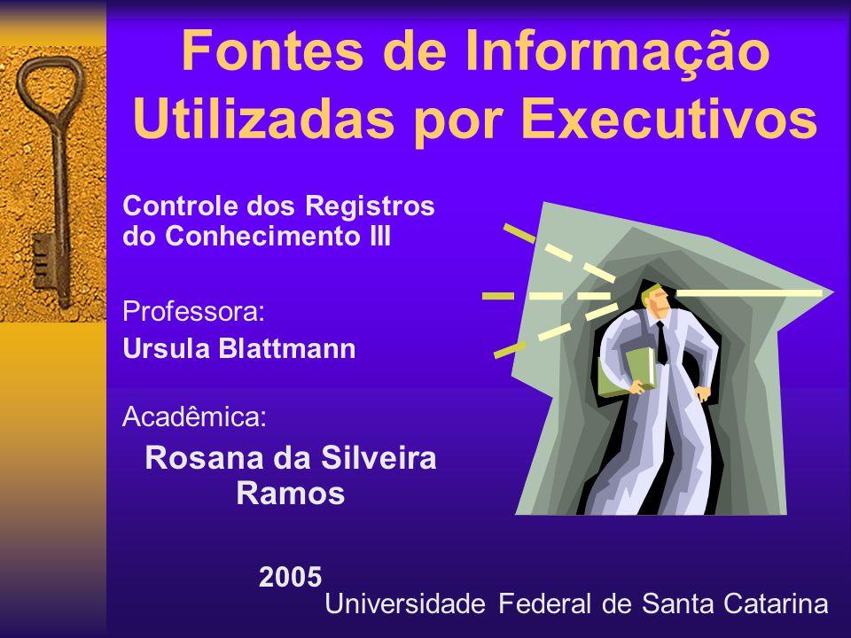 Fontes de Informação Utilizadas por Executivos Controle dos Registros do Conhecimento III Professora: Ursula Blattmann Acadêmica: Rosana da Silveira R