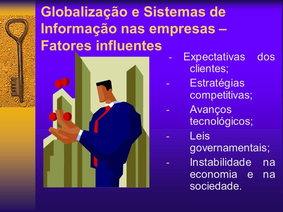 Globalização e Sistemas de Informação nas empresas – Fatores influentes - Expectativas dos clientes; - Estratégias competitivas; - Avanços tecnológico