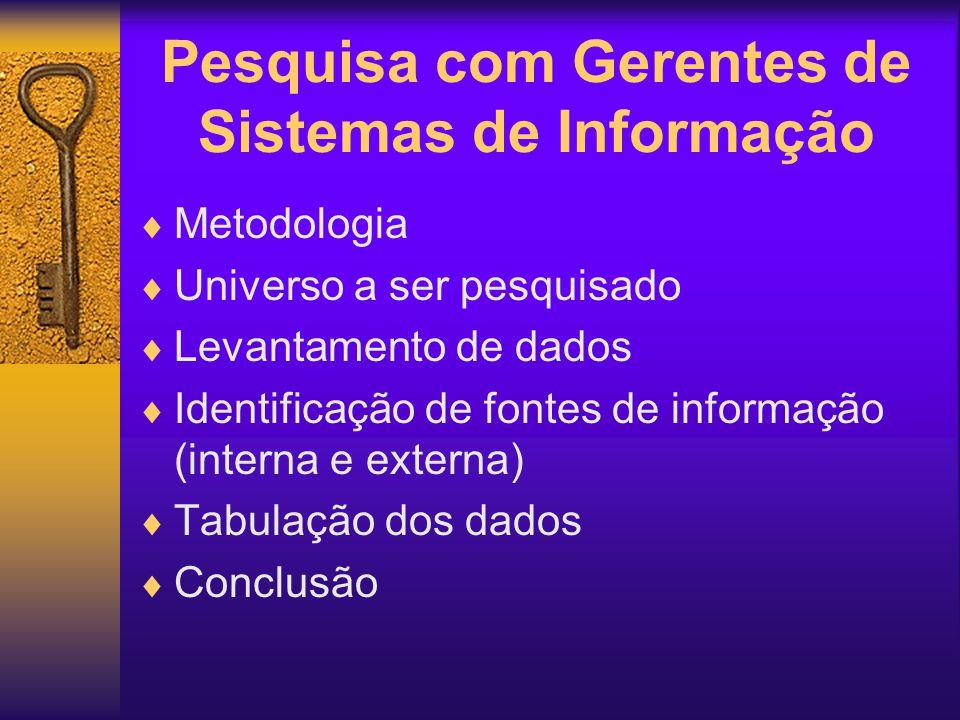 Pesquisa com Gerentes de Sistemas de Informação Metodologia Universo a ser pesquisado Levantamento de dados Identificação de fontes de informação (int