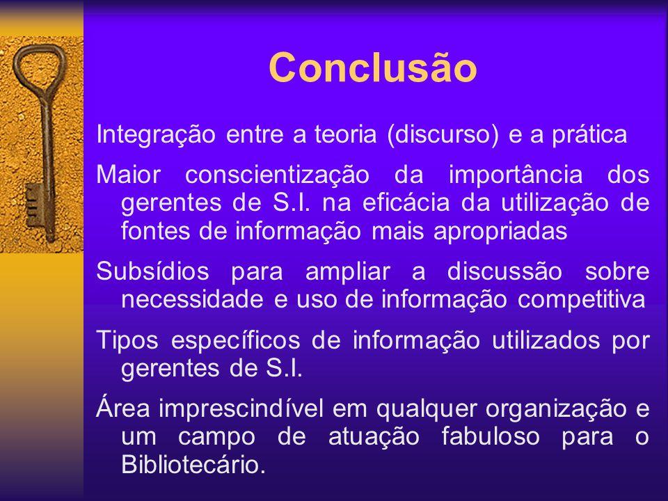 Integração entre a teoria (discurso) e a prática Maior conscientização da importância dos gerentes de S.I. na eficácia da utilização de fontes de info