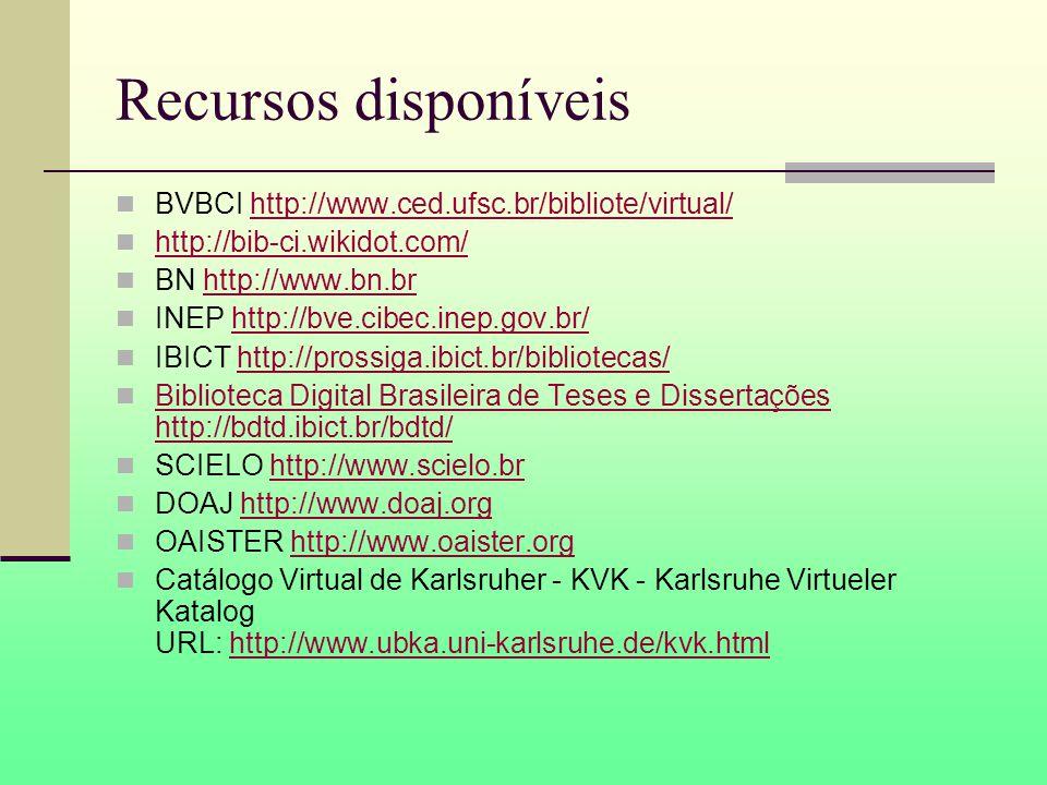 Recursos disponíveis BVBCI http://www.ced.ufsc.br/bibliote/virtual/http://www.ced.ufsc.br/bibliote/virtual/ http://bib-ci.wikidot.com/ BN http://www.bn.brhttp://www.bn.br INEP http://bve.cibec.inep.gov.br/http://bve.cibec.inep.gov.br/ IBICT http://prossiga.ibict.br/bibliotecas/http://prossiga.ibict.br/bibliotecas/ Biblioteca Digital Brasileira de Teses e Dissertações http://bdtd.ibict.br/bdtd/ Biblioteca Digital Brasileira de Teses e Dissertações http://bdtd.ibict.br/bdtd/ SCIELO http://www.scielo.brhttp://www.scielo.br DOAJ http://www.doaj.orghttp://www.doaj.org OAISTER http://www.oaister.orghttp://www.oaister.org Catálogo Virtual de Karlsruher - KVK - Karlsruhe Virtueler Katalog URL: http://www.ubka.uni-karlsruhe.de/kvk.htmlhttp://www.ubka.uni-karlsruhe.de/kvk.html