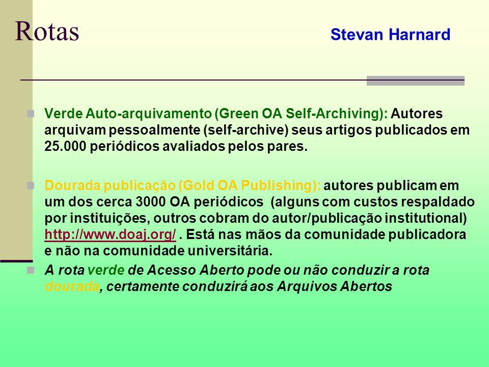 Rotas Verde Auto-arquivamento (Green OA Self-Archiving): Autores arquivam pessoalmente (self-archive) seus artigos publicados em 25.000 periódicos avaliados pelos pares.