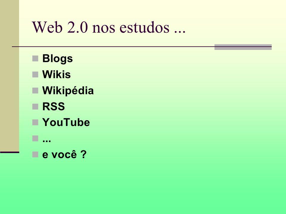 Web 2.0 nos estudos... Blogs Wikis Wikipédia RSS YouTube... e você ?