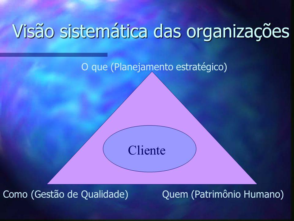 Visão sistemática das organizações Cliente O que (Planejamento estratégico) Como (Gestão de Qualidade)Quem (Patrimônio Humano)