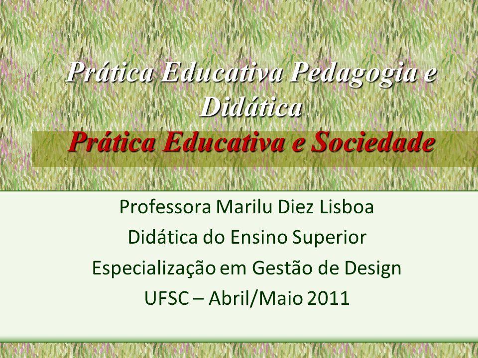 Prática Educativa Pedagogia e Didática Prática Educativa e Sociedade Professora Marilu Diez Lisboa Didática do Ensino Superior Especialização em Gestã