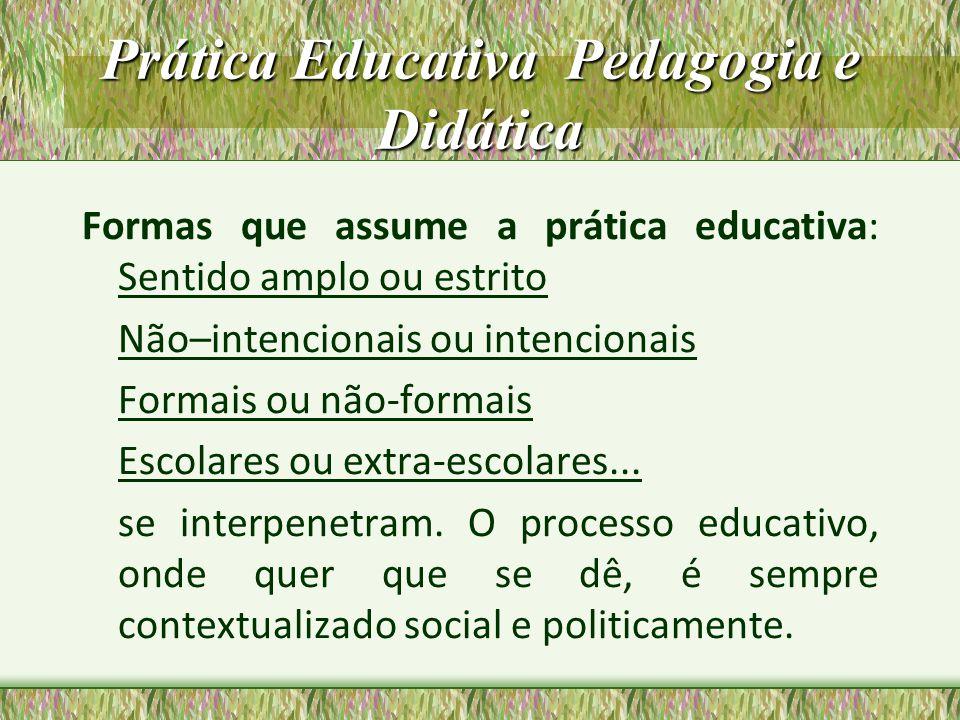 Prática Educativa Pedagogia e Didática Formas que assume a prática educativa: Sentido amplo ou estrito Não–intencionais ou intencionais Formais ou não