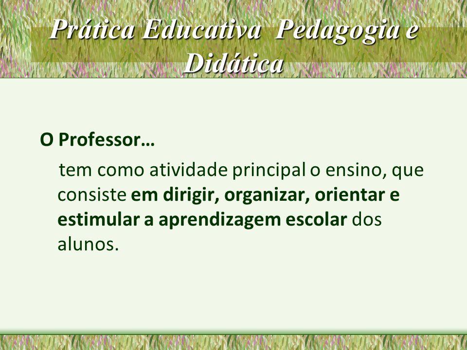 Prática Educativa Pedagogia e Didática O Professor… tem como atividade principal o ensino, que consiste em dirigir, organizar, orientar e estimular a