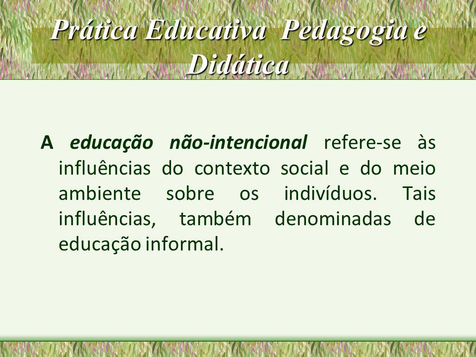 Prática Educativa Pedagogia e Didática Na educação intencional as influências sobre as pessoas apresentam intenções e objetivos definidos conscientemente, como é o caso da educação escolar e extra- escolar.