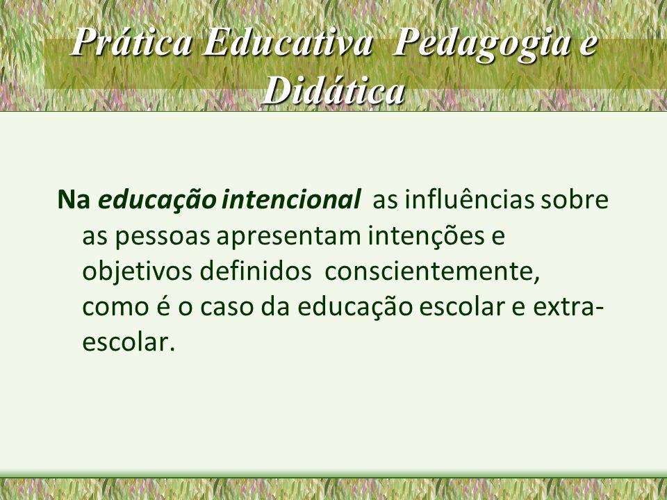 Prática Educativa Pedagogia e Didática A Educação intencional tem como meios: A educação não-formal: atividade educativa estruturada fora do sistema escolar convencional.