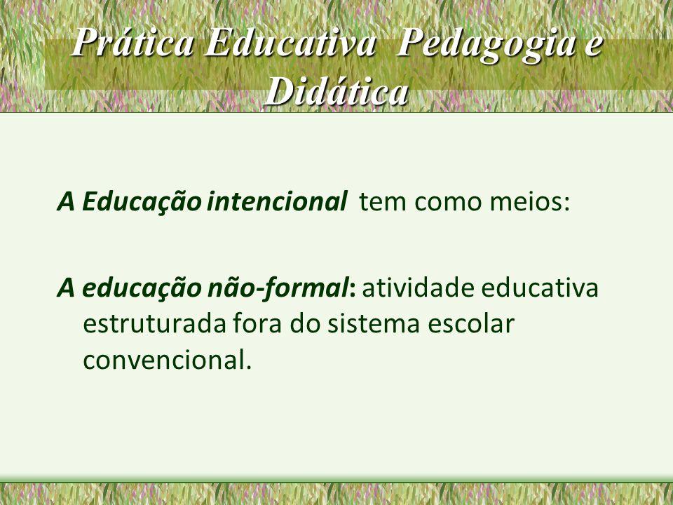 Prática Educativa Pedagogia e Didática A educação formal: realiza-se nas escolas ou outras agências de instrução e educação (igrejas, sindicatos, partidos, empresas) implicando ações de ensino com objetivos pedagógicos explícitos, sistematização, procedimentos didáticos.
