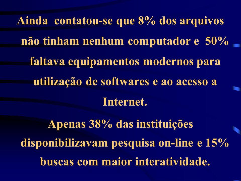 Ainda contatou-se que 8% dos arquivos não tinham nenhum computador e 50% faltava equipamentos modernos para utilização de softwares e ao acesso a Inte