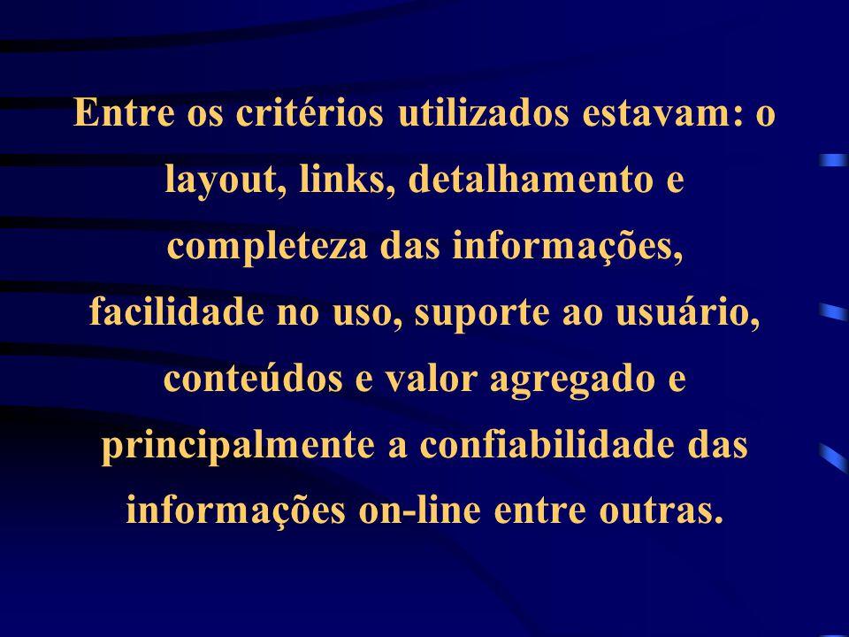 Entre os critérios utilizados estavam: o layout, links, detalhamento e completeza das informações, facilidade no uso, suporte ao usuário, conteúdos e