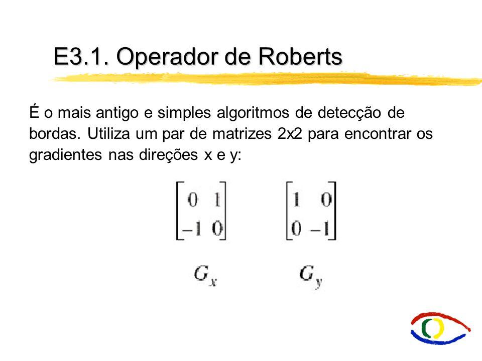 E3.1. Operador de Roberts É o mais antigo e simples algoritmos de detecção de bordas. Utiliza um par de matrizes 2x2 para encontrar os gradientes nas