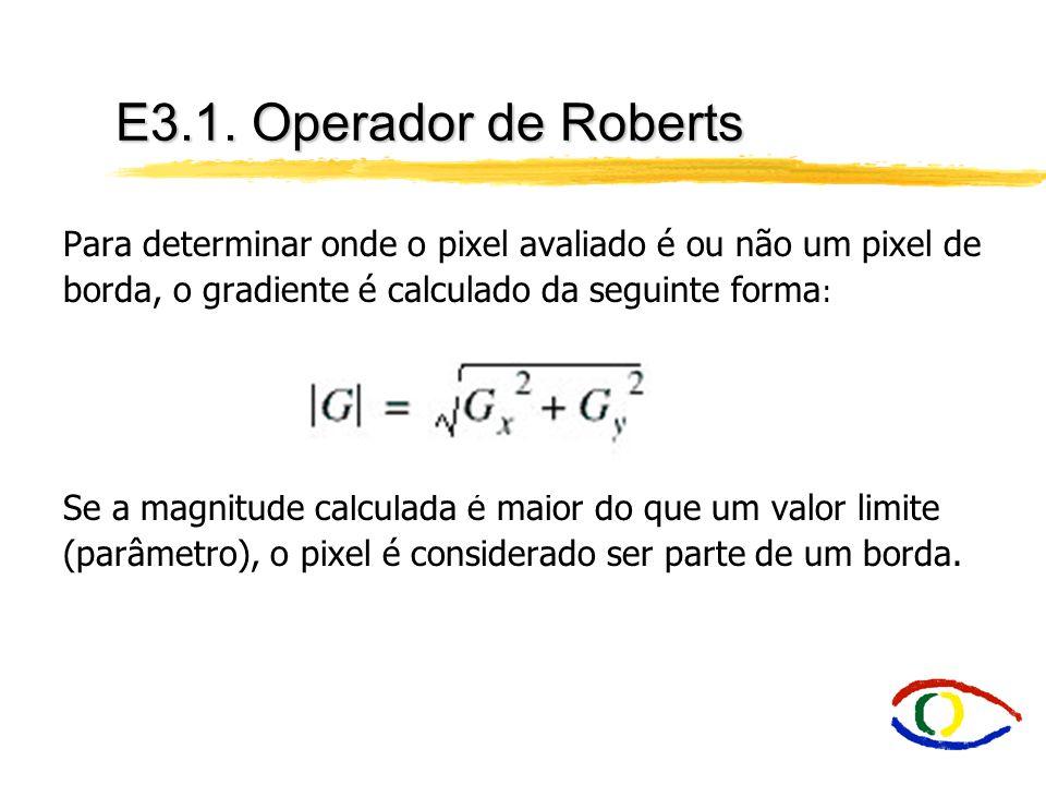 E3.1. Operador de Roberts Para determinar onde o pixel avaliado é ou não um pixel de borda, o gradiente é calculado da seguinte forma : Se a magnitude