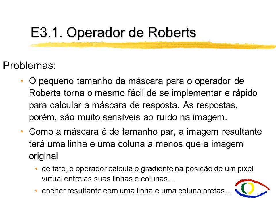 E3.1. Operador de Roberts Problemas: O pequeno tamanho da máscara para o operador de Roberts torna o mesmo fácil de se implementar e rápido para calcu