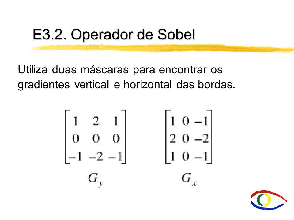 E3.2. Operador de Sobel Utiliza duas máscaras para encontrar os gradientes vertical e horizontal das bordas.