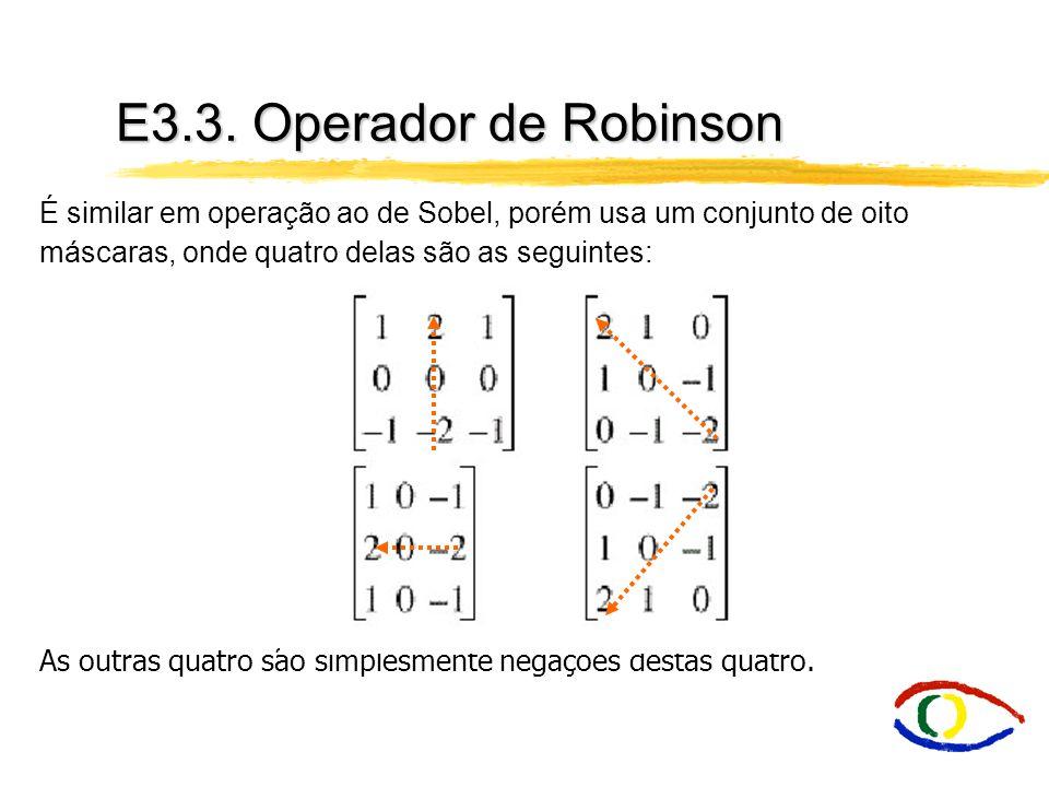 E3.3. Operador de Robinson É similar em operação ao de Sobel, porém usa um conjunto de oito máscaras, onde quatro delas são as seguintes: As outras qu