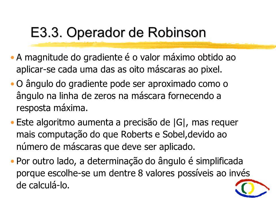 E3.3. Operador de Robinson A magnitude do gradiente é o valor máximo obtido ao aplicar-se cada uma das as oito máscaras ao pixel. O ângulo do gradient