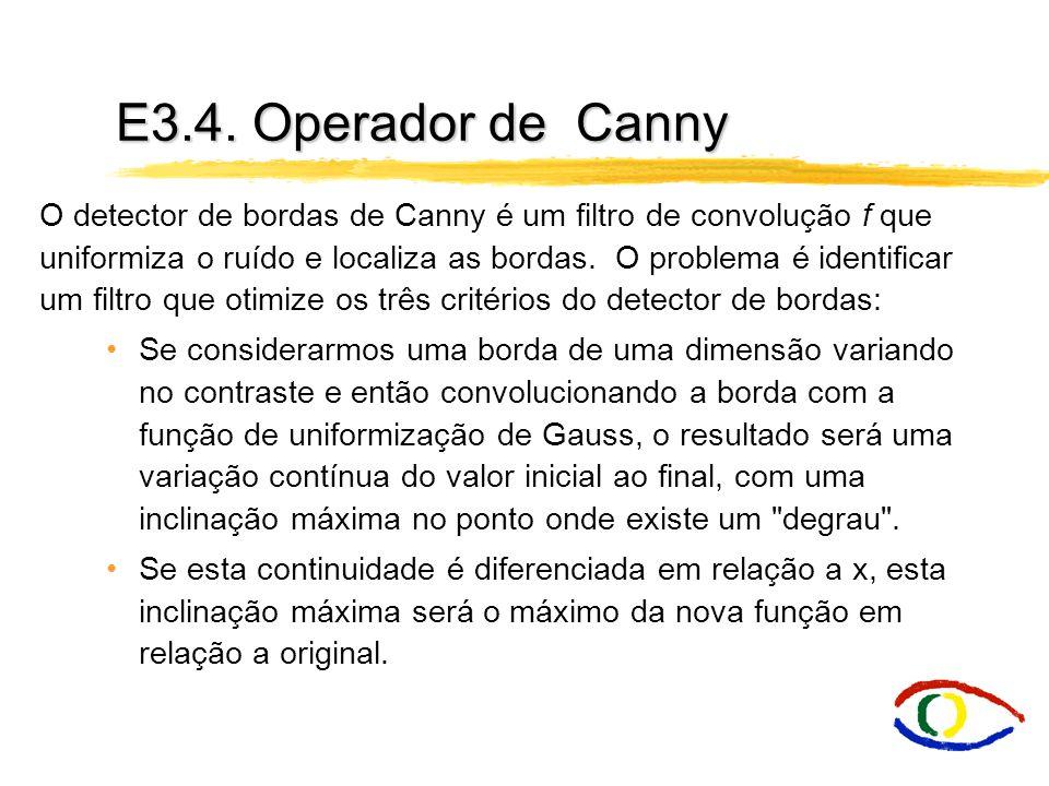 O detector de bordas de Canny é um filtro de convolução f que uniformiza o ruído e localiza as bordas. O problema é identificar um filtro que otimize