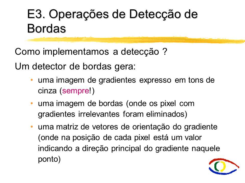 E3. Operações de Detecção de Bordas Como implementamos a detecção ? Um detector de bordas gera: uma imagem de gradientes expresso em tons de cinza (se