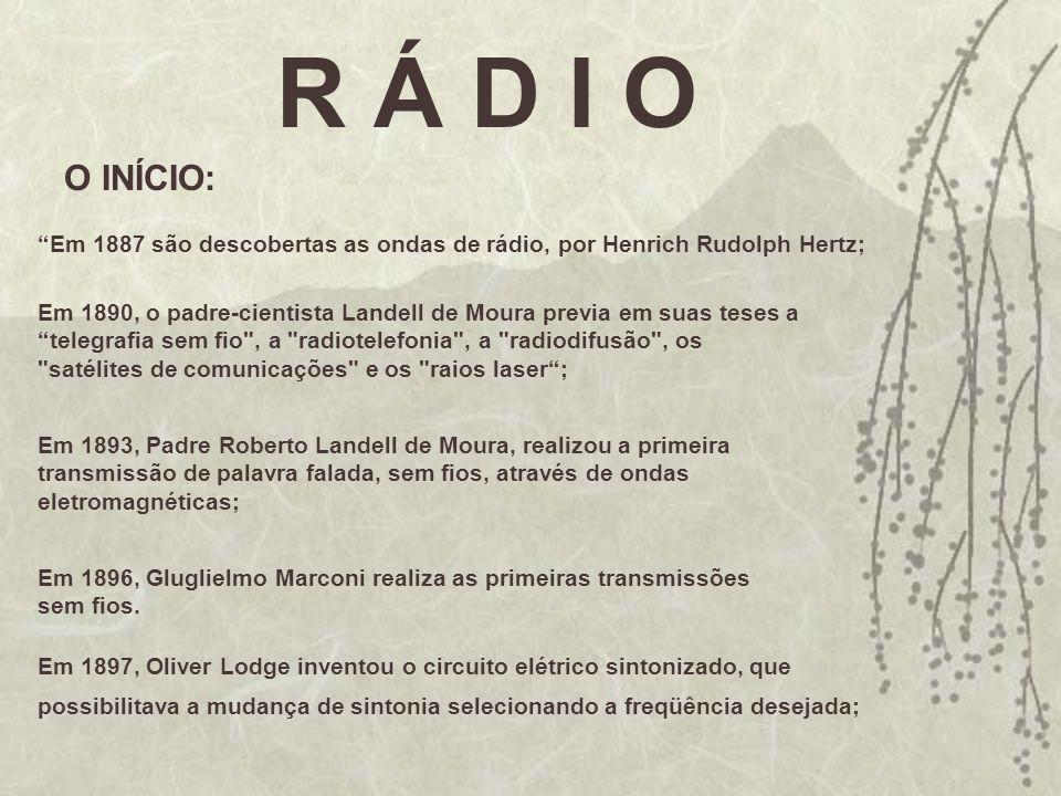 R Á D I O O INÍCIO: Em 1887 são descobertas as ondas de rádio, por Henrich Rudolph Hertz; Em 1890, o padre-cientista Landell de Moura previa em suas t