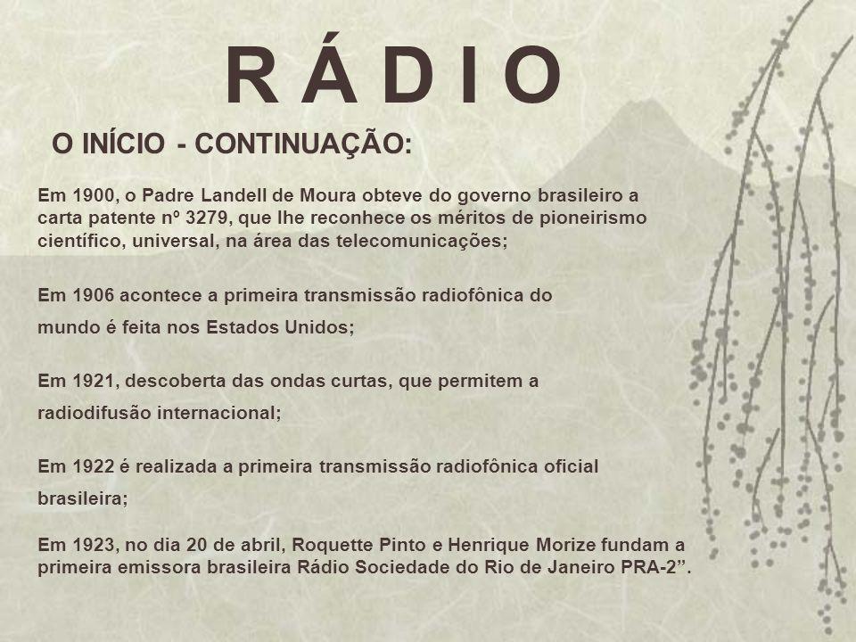 R Á D I O O INÍCIO - CONTINUAÇÃO: Em 1900, o Padre Landell de Moura obteve do governo brasileiro a carta patente nº 3279, que lhe reconhece os méritos