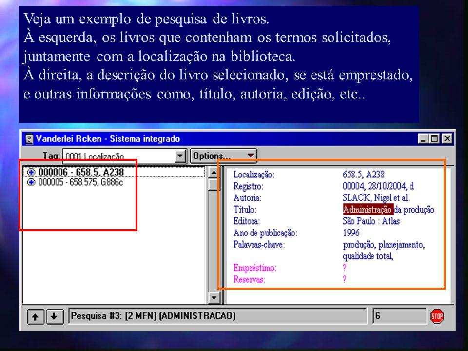 À esquerda, aparecerá todos os registros que contenham o termo solicitado, bastando dar um clique para que as informações apareçam à direita.