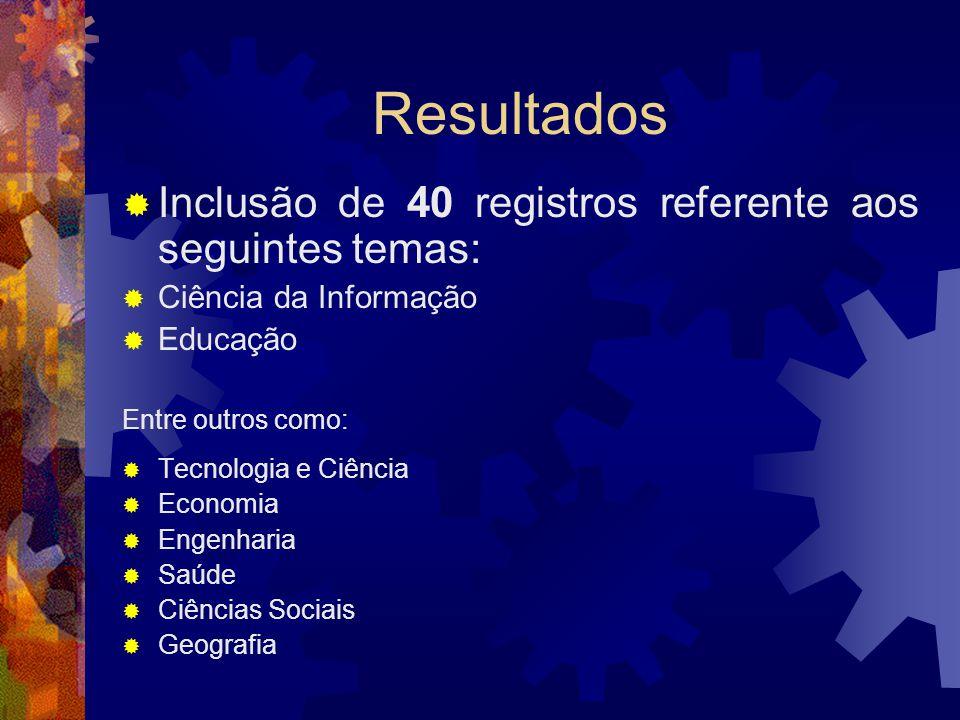 Resultados Inclusão de 40 registros referente aos seguintes temas: Ciência da Informação Educação Entre outros como: Tecnologia e Ciência Economia Engenharia Saúde Ciências Sociais Geografia