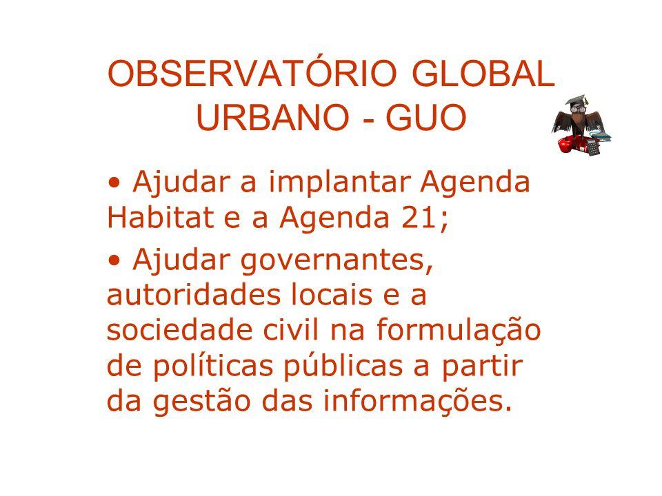 OBSERVATÓRIO GLOBAL URBANO - GUO Ajudar a implantar Agenda Habitat e a Agenda 21; Ajudar governantes, autoridades locais e a sociedade civil na formul