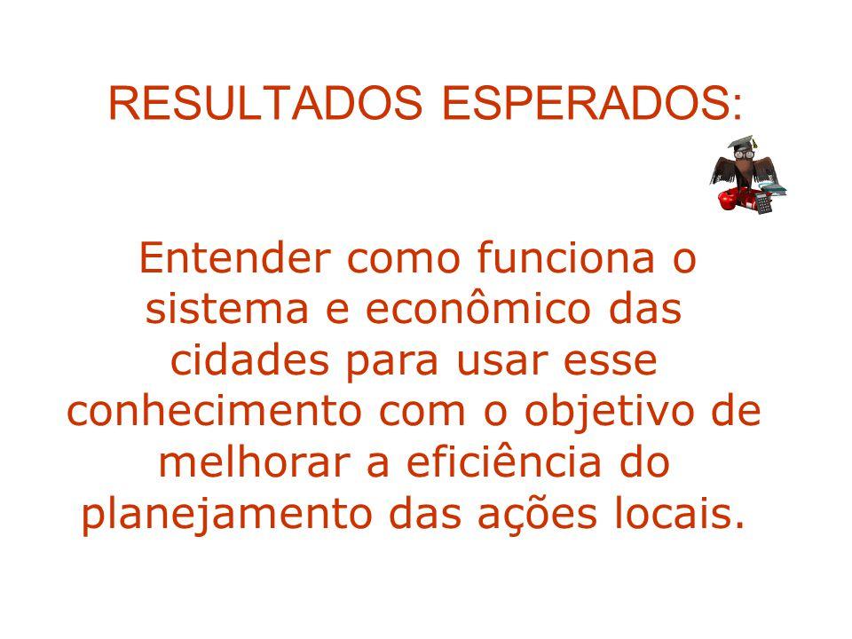 RESULTADOS ESPERADOS: Entender como funciona o sistema e econômico das cidades para usar esse conhecimento com o objetivo de melhorar a eficiência do