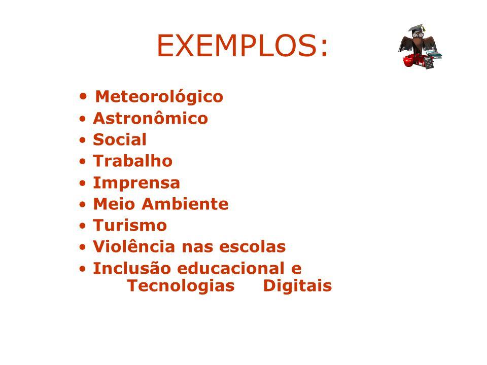 EXEMPLOS: Meteorológico Astronômico Social Trabalho Imprensa Meio Ambiente Turismo Violência nas escolas Inclusão educacional e Tecnologias Digitais